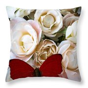 Spray Roses And Red Butterfly Throw Pillow