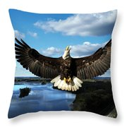 Spread Eagle  Mississippi River Throw Pillow