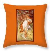 Spring Throw Pillow by Alphonse Maria Mucha