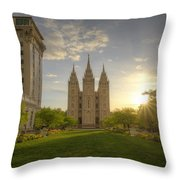 Spring At Temple Square Throw Pillow