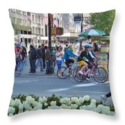 Spring Bike Event From New York To New Jersey Throw Pillow