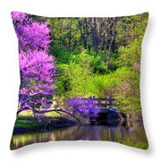 Spring Blossoms On Lake Marmo Throw Pillow