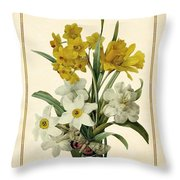 Spring Bouquet Of Daffodils And Narcissus With Butterfly Vertical Throw Pillow