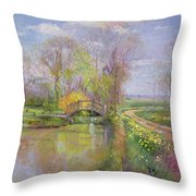 Spring Bridge Throw Pillow