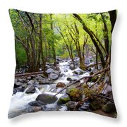 Spring Cascade Of Water From Bridal Veil Falls In Yosemite Np-2013 Throw Pillow