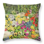 Spring Cats Throw Pillow by Hilary Jones