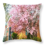 Spring - Cherry Tree By Brick House Throw Pillow