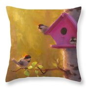 Spring Chickadees 1 - Birdhouse And Birch Forest Throw Pillow