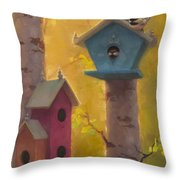 Spring Chickadees 2 - Birdhouse And Birch Forest Throw Pillow