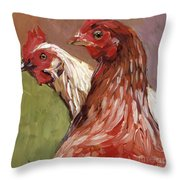 Spring Chickens Throw Pillow