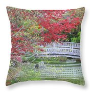 Spring Color Over Japanese Garden Bridge Throw Pillow
