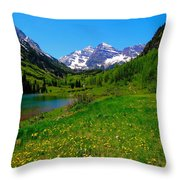 Spring Colors In Maroon Bells Throw Pillow