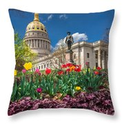 Spring Comes To Wv Capitol Throw Pillow