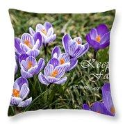 Spring Crocus With Scripture Throw Pillow