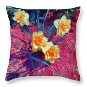 Spring Daffodils On Red - Horizontal Throw Pillow
