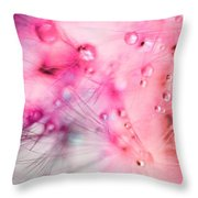 Spring - Dandelion With Water Droplets Abstract Throw Pillow