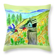 Spring Feeding Throw Pillow