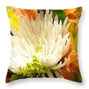Spring Floral Burst Throw Pillow