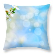 Spring Flowers Against Blue Bokeh Background Throw Pillow