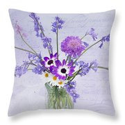 Spring Flowers In A Jam Jar Throw Pillow