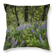 Spring Flowers In The Columbia Gorge Throw Pillow