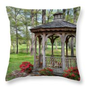 Spring Gazebo Pastel Effect Throw Pillow
