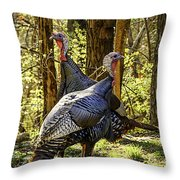 Spring Gobblers Throw Pillow