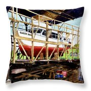 Yacht Glacier Bear Hauled Out In Gig Harbor Throw Pillow