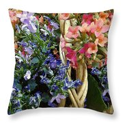 Spring In A Basket Throw Pillow