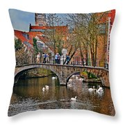 Spring In Bruges Throw Pillow