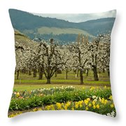 Spring In The Hood River Valley Throw Pillow