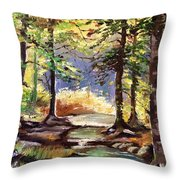 Spring In Woods Throw Pillow
