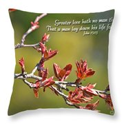 Spring Leaves Greeting Card With Verse Throw Pillow