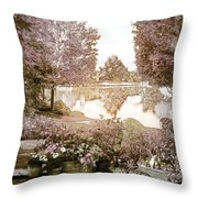 Spring Magical Fairyland Lake Throw Pillow