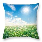 Spring Meadow Under Sunny Blue Sky Throw Pillow