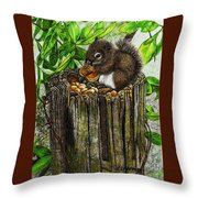 Spring Nuts Throw Pillow