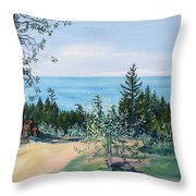 Spring Olive Grove And Pathway To The Sea Throw Pillow