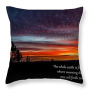 Spring Peaceful Morning Sunrise Bible Verse Photography Throw Pillow