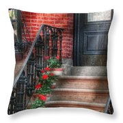 Spring - Porch - Hoboken Nj - Geraniums On Stairs Throw Pillow by Mike Savad