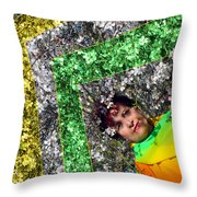 Spring Rainbow And Girl Throw Pillow