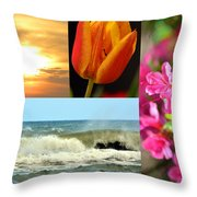 Spring Summer Collage Throw Pillow
