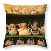 Spring Teapots  Throw Pillow