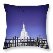 Spring Time At The Idaho Falls Temple Throw Pillow