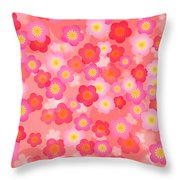 Spring Time Cherry Blossom Seamless Tile Background Throw Pillow