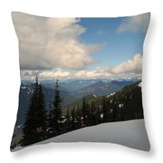 Spring Time Skiing At Crystal Throw Pillow