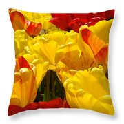 Spring Tulips Art Prints Yellow Red Tulip Flowers Throw Pillow