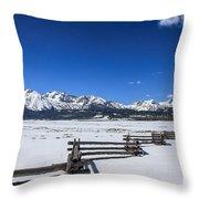 Spring View Of The Sawtooth Mountains Throw Pillow