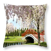 Spring Walk Around Lake Throw Pillow