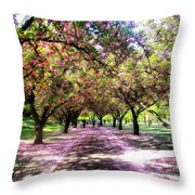 Spring Walkway Lined By Blooming Cherry Trees Throw Pillow