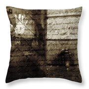 spring water memories - A letter and hand print composition beside a vintage griffin Throw Pillow